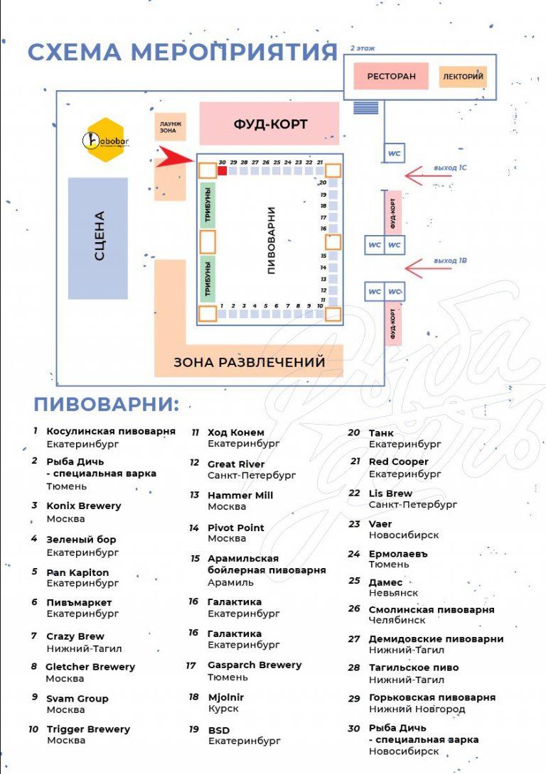 Схема прохода на фестивале Пива Рыба Дичь Екатеринбург
